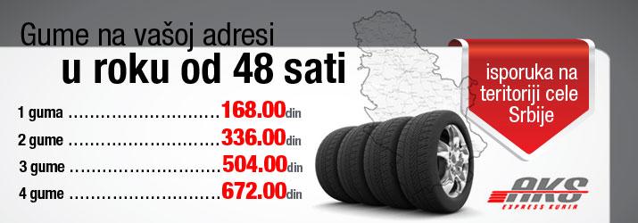 Isporuka guma na teritoriji cele Srbije